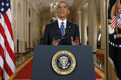 U.S. President Barack Obama announces executive actions on U.S. immigration policy Nov. 20, 2014. Image taken from Wikimedia.