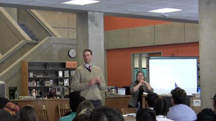 MHS history teacher Greg Hurley leading the simulation.