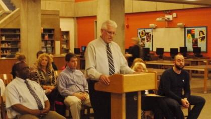 Principal Dana Brown addressing the panel. Photo by Jasper Haag.
