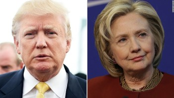 The presidential election frontrunners Republican Donald Trump, left, and Democrat Hillary Clinton, right, are pictured. Photo provided by @CNNSitRoom.