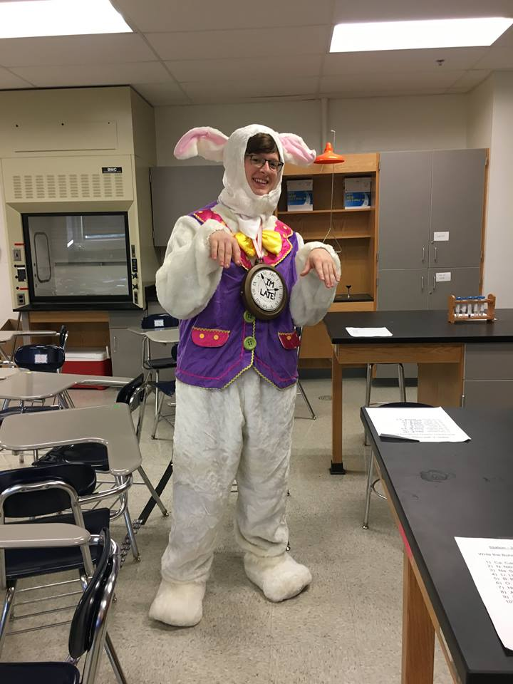 Senior Jesse Bouley dressed as the White Rabbit from Alice in Wonderland.